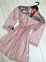Соблазнительный халат для дома из микросетки 086.