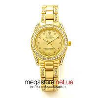 Женские наручные часы Rolex Cosmograph золотые с золотым циферблатом (07762) реплика