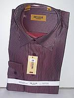Рубашка мужская De Luxe vd-0017 бордовая в полоску классическая с длинным рукавом