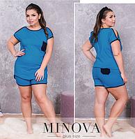 Пижама женская большого размера топ+шорты  (р. 50-56 )