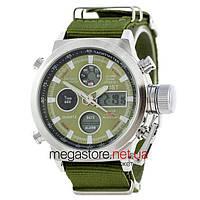 Мужские армейские часы AMST AM3003 сталь с зеленым циферблатом (20036)