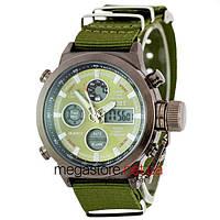 Мужские армейские часы AMST AM3003 черный с зеленым циферблатом (20038)