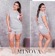 Пижама женская большого размера топ+шорты  (р. 50-60 )