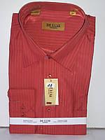 Рубашка мужская De Luxe vd-0028 терракотовая в полоску классическая с длинным рукавом