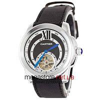 Мужские наручные часы Cartier сталь с черно-белым циферблатом (20513)  реплика cfeb7cb48649d