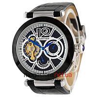 Мужские наручные часы Cartier черный с черно-белым циферблатом (20516)  реплика 3b027b10c58f4