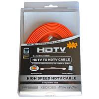 Шнур HDMI (штекер - штекер), плоский кабель, gold, 5м, оранжевый (в блистере), Tcom