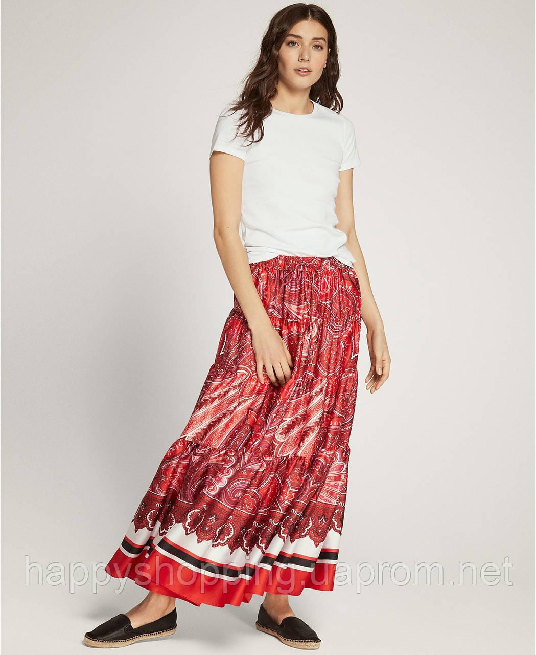 Женская оригинальная стильная красная миди юбка с принтом Ralph Lauren