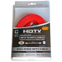 Шнур HDMI (штекер - штекер), плоский кабель, gold, 5м, красный (в блистере), Tcom