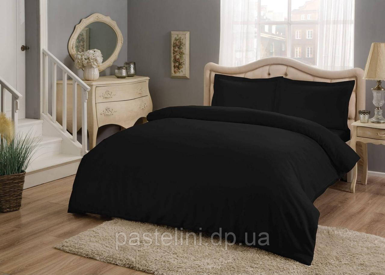TAC Евро комплект постельного белья сатин Basic Black
