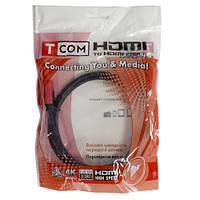 Шнур HDMI (штекер - штекер) v.1,4, диаметр - 6мм, gold, 0,8м, красно-чёрный, Tcom