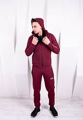 Спортивный костюм мужской бордовый Under Armour с капюшоном топ реплика