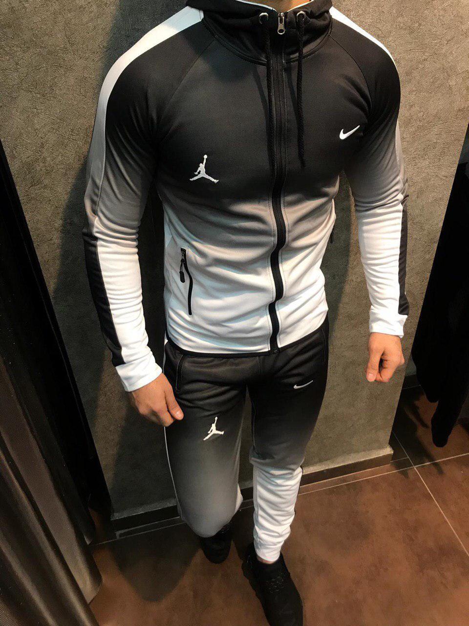 cb97613315fd Спортивный костюм мужской бело-черный Nike топ реплика - Интернет-магазин  обуви и одежды