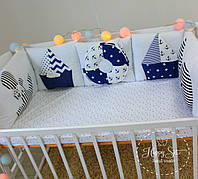 Бортики,захист в ліжечко+простинька в морських тонах 1854