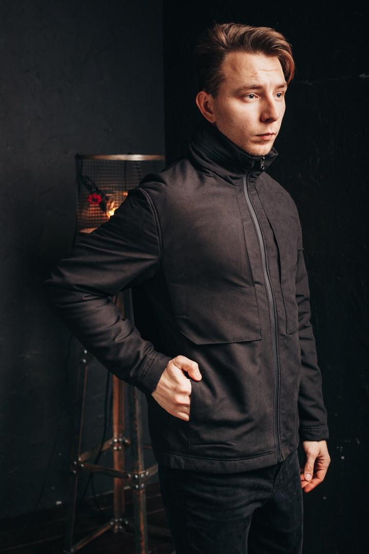 Мужская куртка Стоун черная. Фото в живую