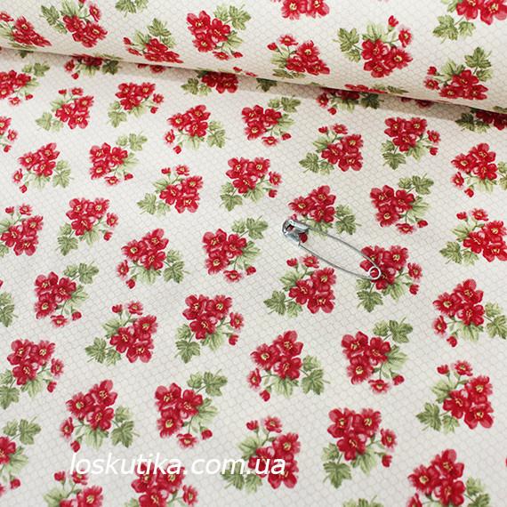 41010 Трио букетик (красный). Ткань с мелким рисунком. Декоративные ткани для ручной работы и для пэчворка