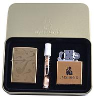 """Электроимпульсная (USB) + бензиновая зажигалки в подарочной коробке + мундштук """"Курительная трубка"""""""