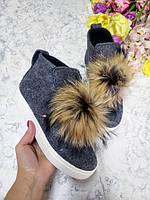 Удобная детская обувь шерстяная с помпоном мех енот для девочки подростковые с 32 размера