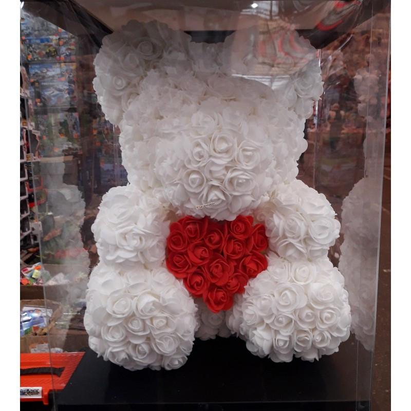Мишка из роз My Teddy большой белый с сердечком