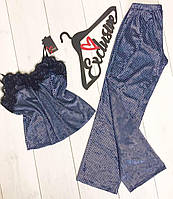 Велюровый пижамный комплект майка и штаны в клеточку 010.