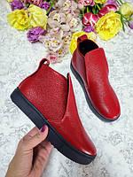 Красные ботинки на черной подошве детские подростковые для девочки с 32 размера демисезонные лаковая кожа