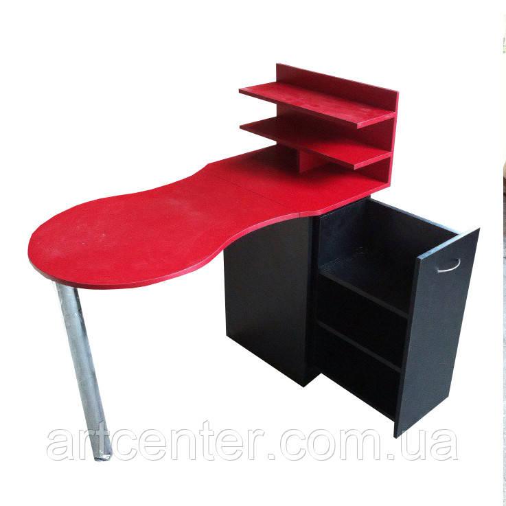 """Красный маникюрный стол  с ящиком """"карго"""" и полочками для лаков"""
