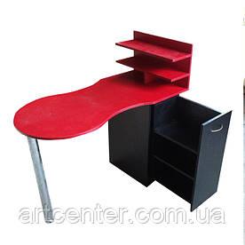 """Червоний манікюрний стіл з ящиком """"карго"""" та поличками для лаків"""