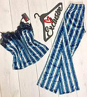 Теплая велюровая пижама штаны и майка в полоску, женские пижамы.