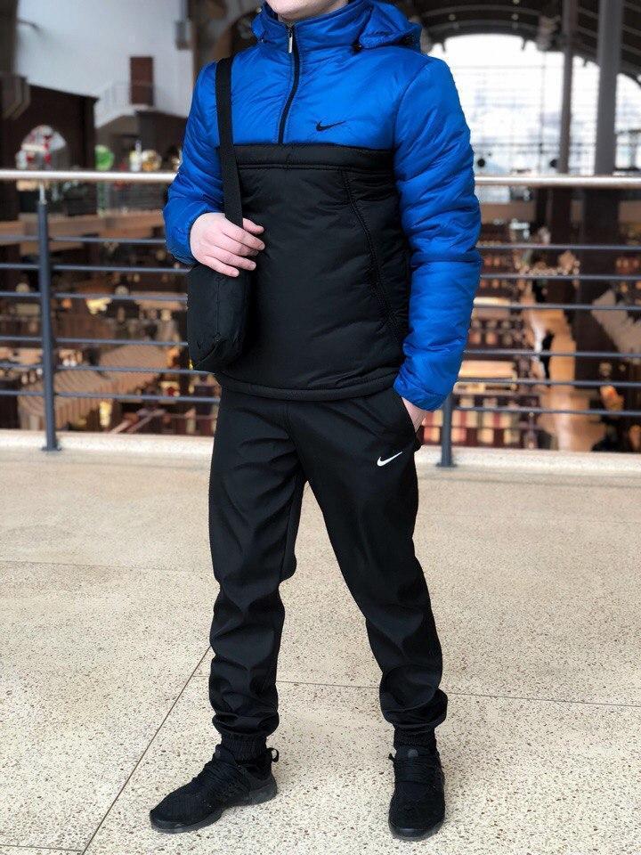 Анорак утепленный NIKE | НАЙК | мужской | черный | синий | реплика, фото 1