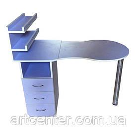 Стіл для манікюру однотумбовий з поличками для лаків і висувними ящиками