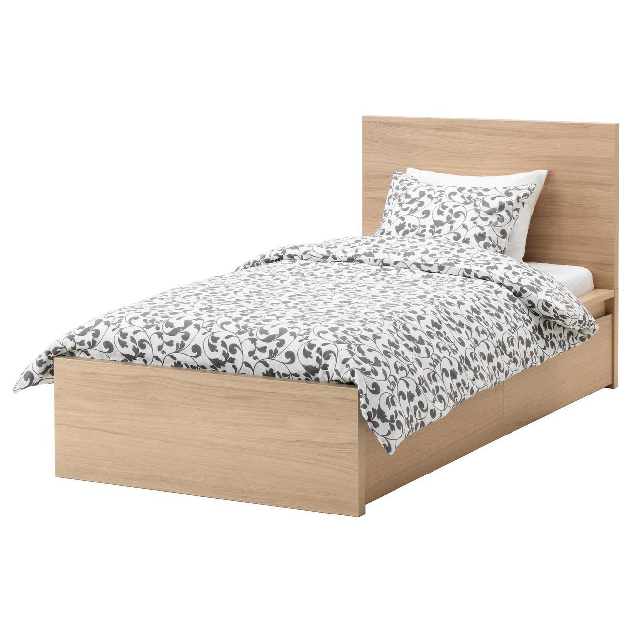 IKEA MALM (591.398.25)MALM КАРКАС кровати с 2 контейнерами, дубовый шпон, 120x200 см