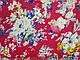 Штапель рисунок цветочный вальс, красный, фото 2