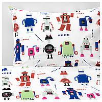 IKEA LATTJO (703.767.97) Комплект постельного белья, маленькие роботы, разноцветные