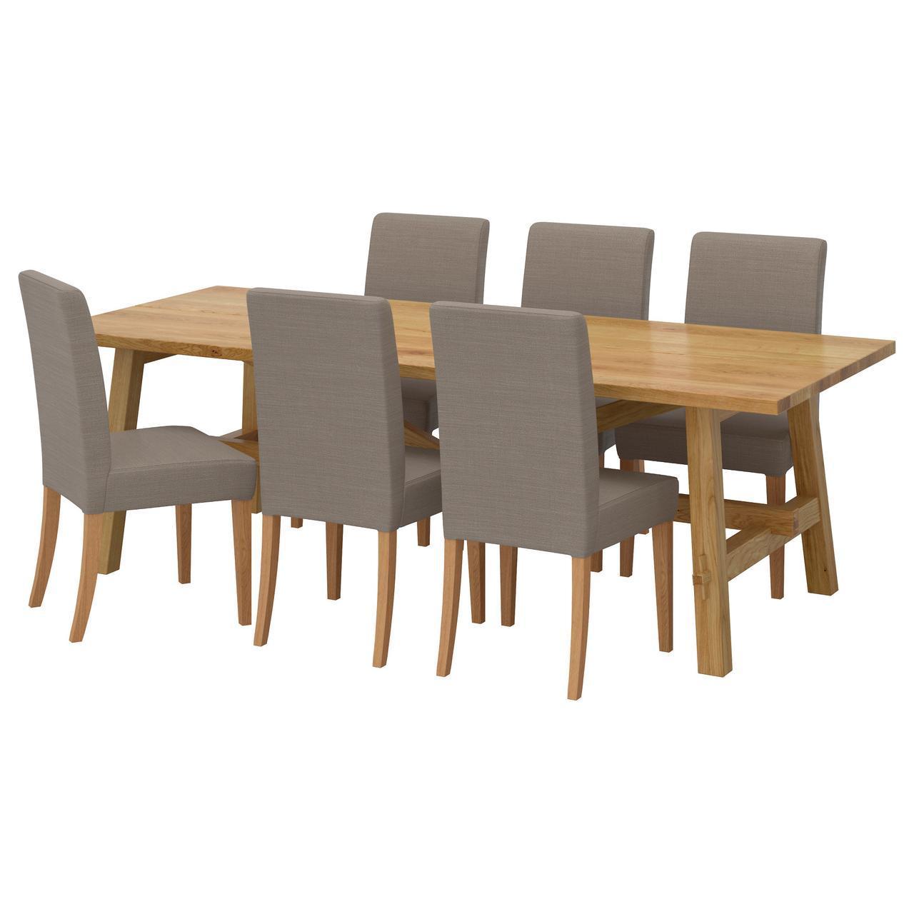 IKEA MOCKELBY / HENRIKSDAL (991.614.90) Стол и 6 стульев, даб, Нобхага серо-коричневый