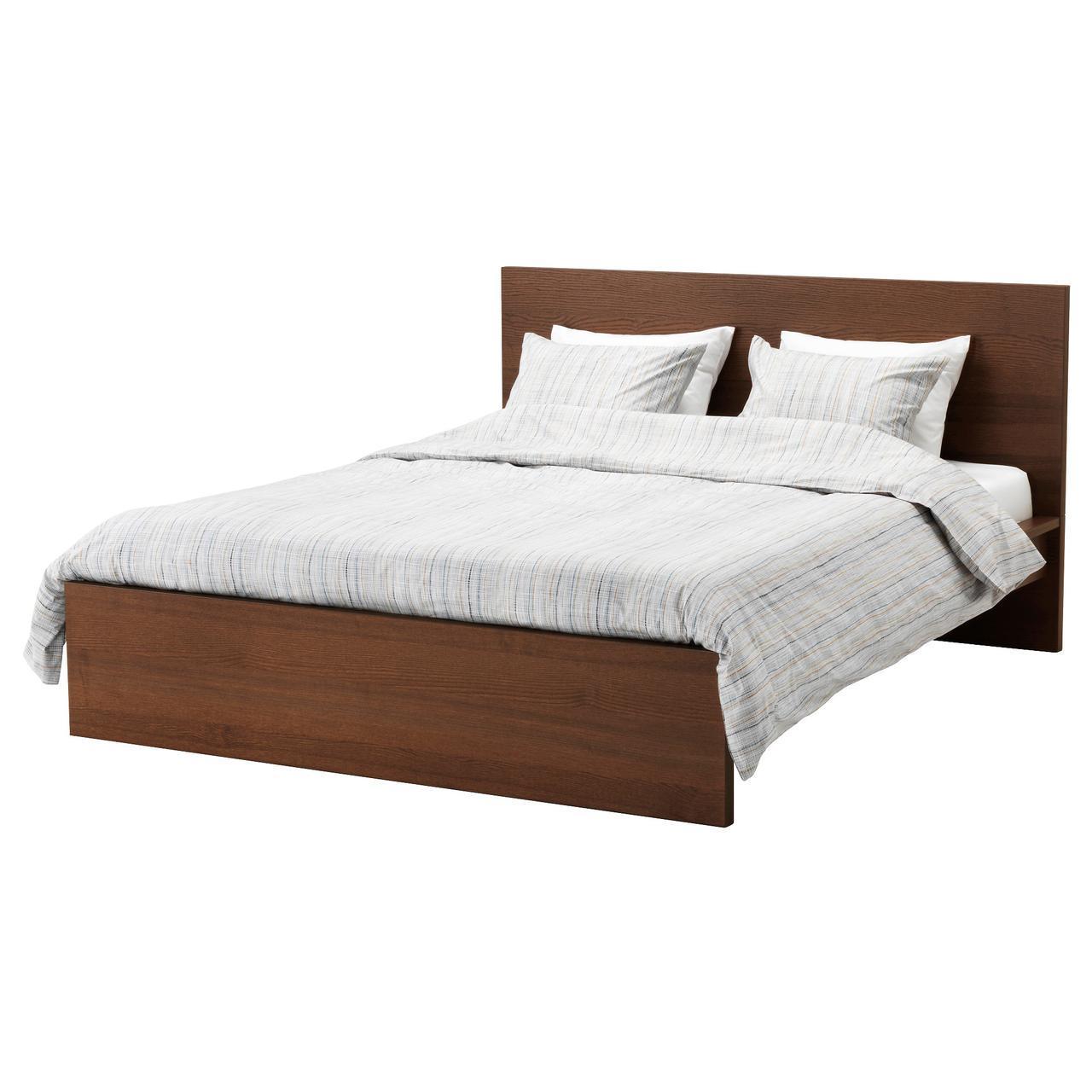 IKEA MALM (391.570.71) MALM КАРКАС кровати, высокий, окрашенный коричневым шпоном ясеня, Leirsund, 160x200 см