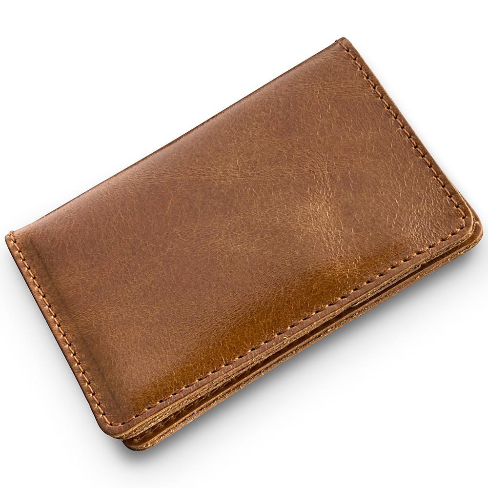 Картхолдер кожаный для пластиковых карт Crystal. Цвет янтарный