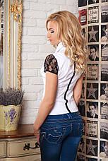 Нарядная женская стильная блуза с кружевом., фото 3