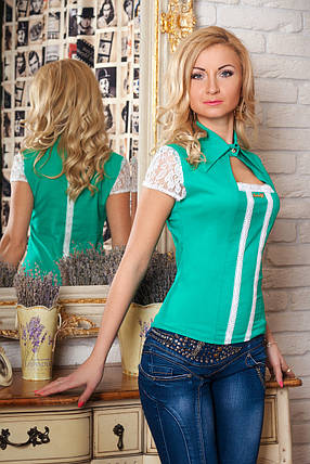Нарядная женская стильная блуза с кружевом., фото 2
