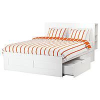 IKEA BRIMNES (591.574.71)Каркас кровати с ящиком, подголовник, белый / Leirsund 180x200 см