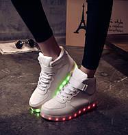 Белые высокие светящиеся LED кроссовки с подсветкой, [ 35 36]