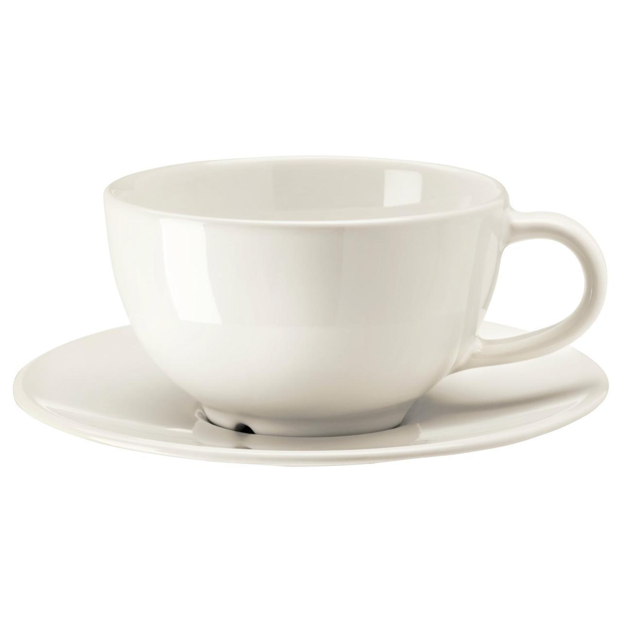 IKEA VARDAGEN (802.883.14) Чашка чайная с блюдцем сливки