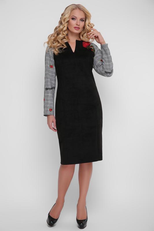 58050469027 Платье эко-замша черное красивое размеры  52