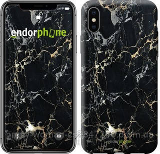 "Чехол на iPhone X Черный мрамор ""3846c-1050-19414"""