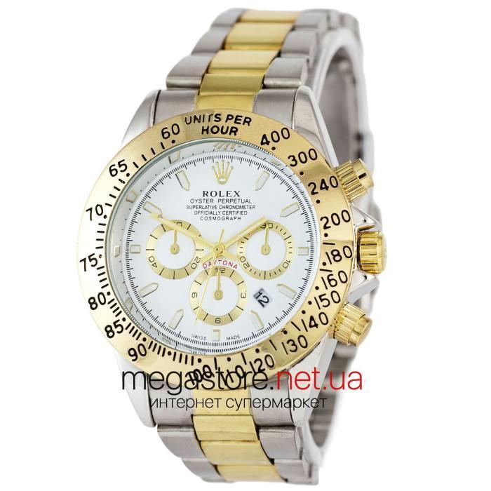 Мужские наручные копия часы Rolex Daytona Quartz Date серебро (22916) реплика, фото 1