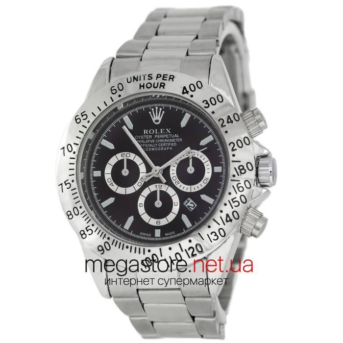 Мужские наручные копия часы Rolex Daytona Quartz Date серебро (22917) реплика