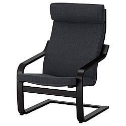 IKEA POANG (191.977.80) Кресло, черный бриз, Lysed ярко-зеленый