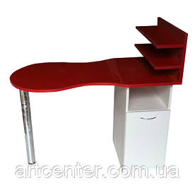 Маникюрный стол комбинированных цветов красного и белого с полочками для лаков