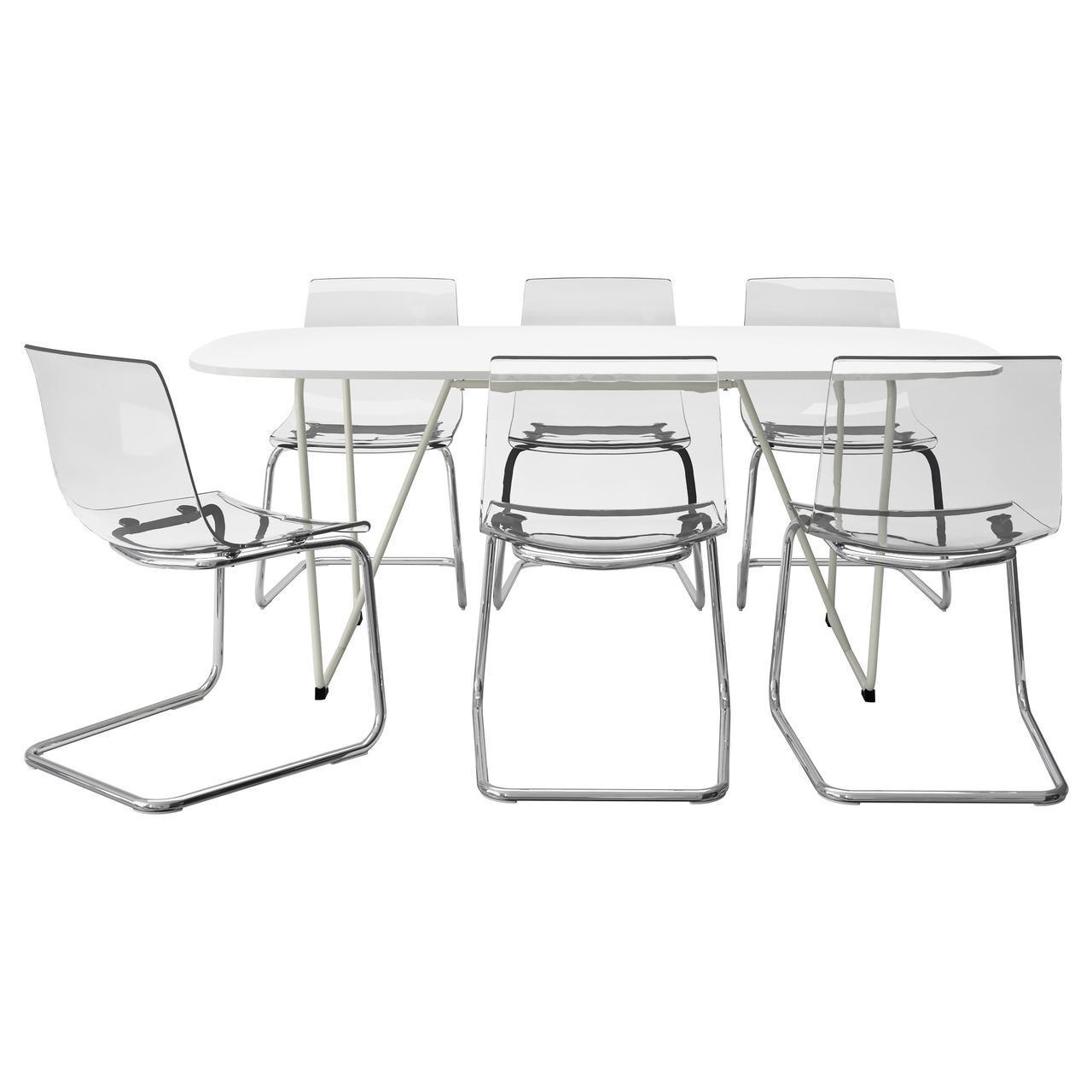 IKEA OPPEBY/BACKARYD / TOBIAS (892.296.88) Стол и 6 стульев, белый, прозрачный хром