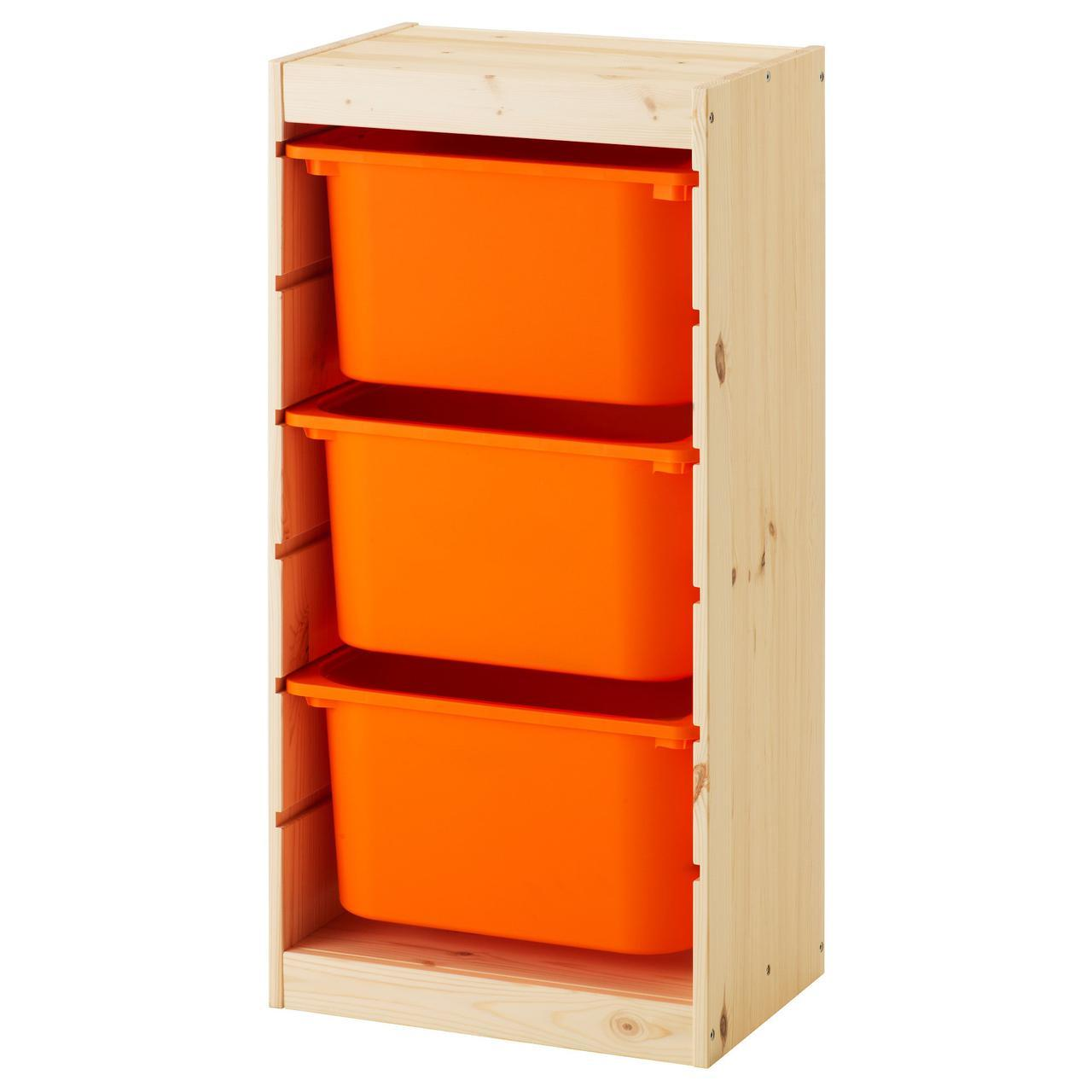 IKEA TROFAST (191.031.78) Шкаф с контейнерами, сосна, яркая сосна, окрашенная белая, черная