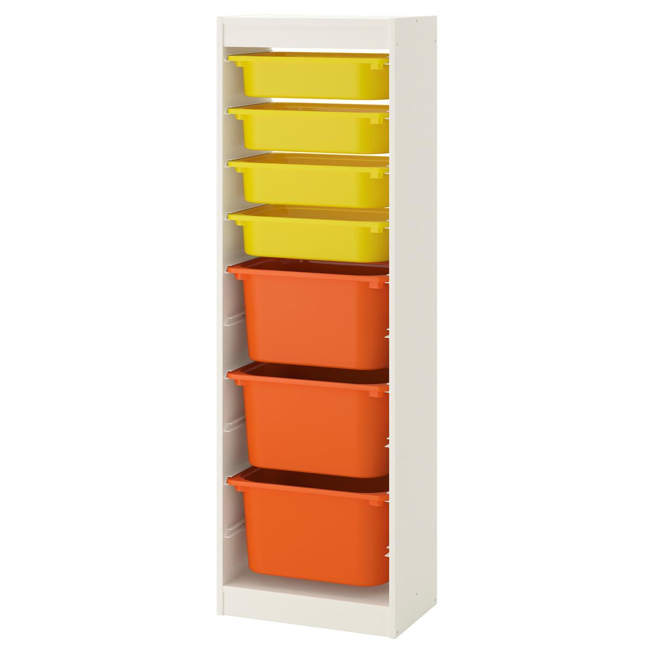 IKEA TROFAST (792.285.52) Шкаф с контейнерами, белый, белый и черный